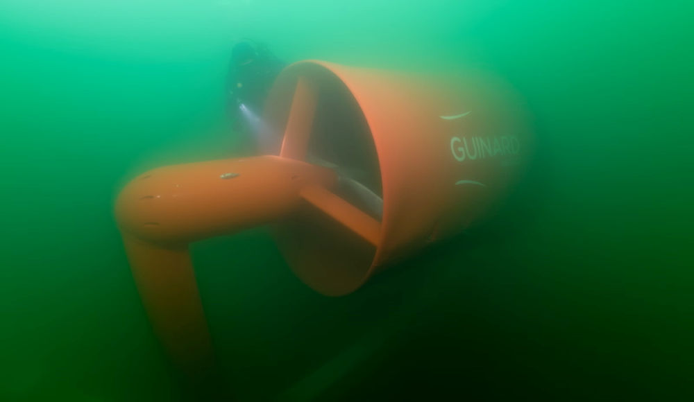 Photo showing the P154 tidal turbine during 2019 deployment (Courtesy of Guinard Energies)