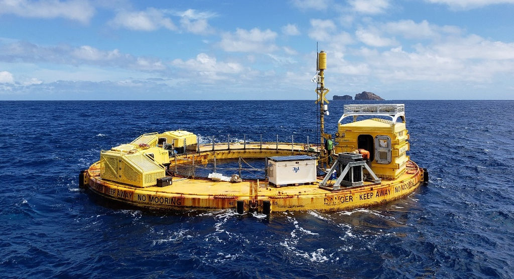 Photo showing the Fred. Olsen Lifesaver wave energy converter deployed at WETS during 2018/2019 (Courtesy of UH/Photo by Pat Cross)