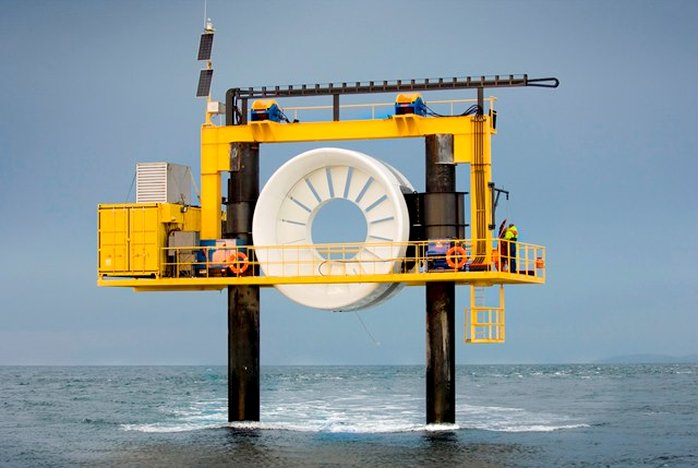Photo showing OpenHydro open-center turbine at EMEC tidal test site (Courtesy of EMEC/Photo by Mike Brookes-Roper/Archive)