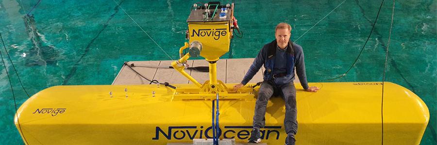 Photo showing Jan Skjoldhammer, founder and CEO of Novige, on NoviOcean test prototype (Courtesy of Novige)