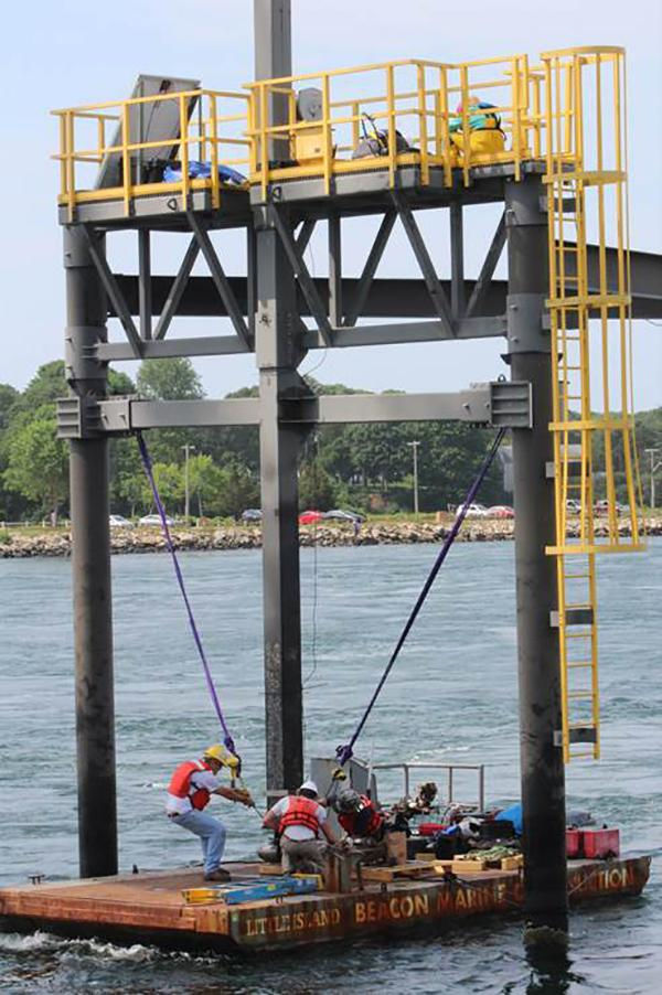 Photo showing the tidal turbine deployment at BTTS (Courtesy of MRECo)