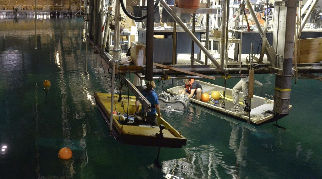 Photo showing CalWave's team testing wave energy device as part of the Wave Energy Prize challenge (Courtesy of U.S. DOE)