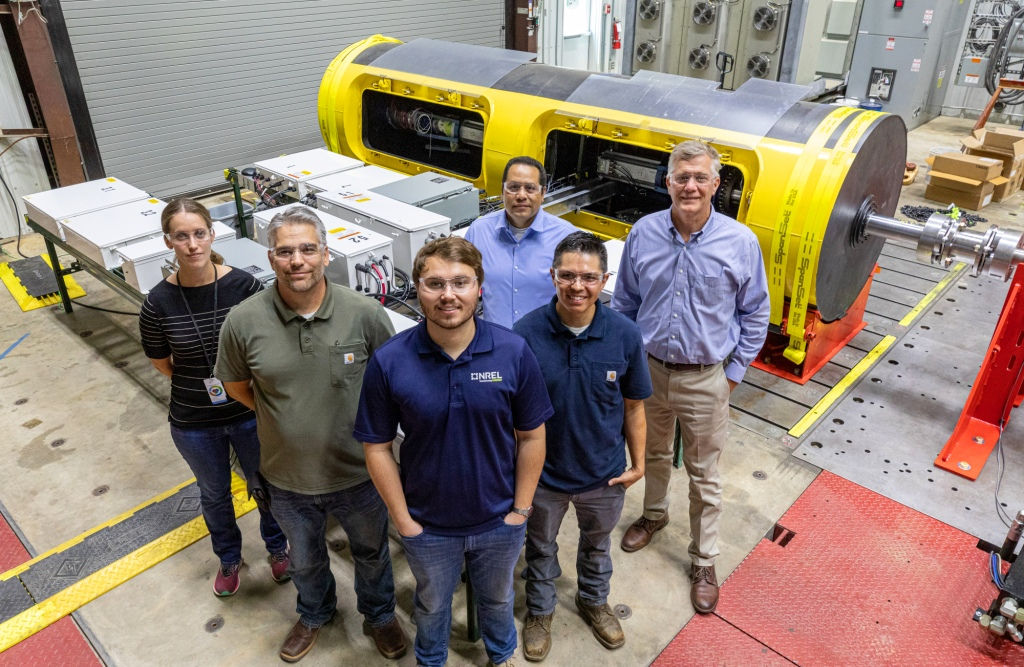NREL researchers pictured in front of the SeaRAY AOPS (Courtesy of NREL/Photo by Vern Slocum)