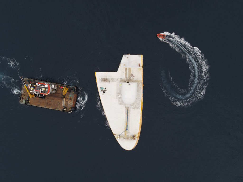 Photo showing the deployment of Penguin wave energy device (Courtesy of Wello)