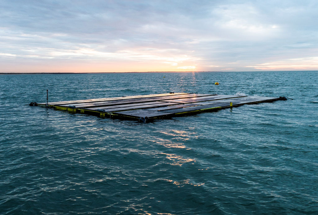 Illustration/Offshore floating solar unite developed by Dutch company Oceans of Energy (Courtesy of Oceans of Energy)