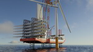 An image rendering NED-Project's wind turbine installation vessel