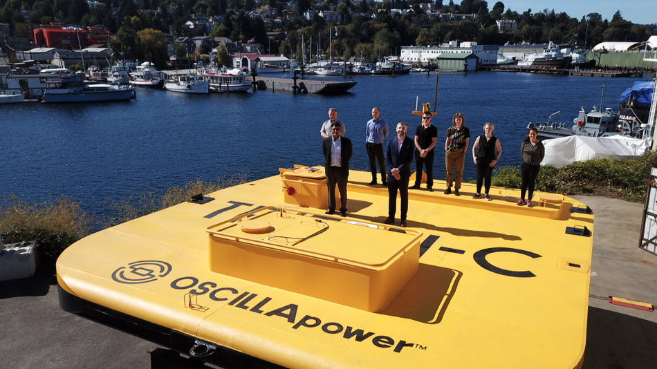 Photo showing the the launch of Triton-C wave energy system (Courtesy of Oscilla Power)