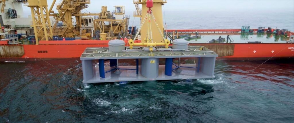 Illustration/Deployment of HydroQuest tidal energy turbine (Courtesy of HydroQuest)