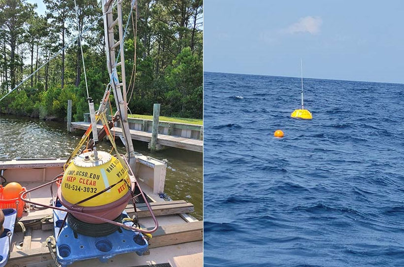 The Waverider buoy will spend 12 months off North Carolina's coast, collecting data on ocean waves, currents, tides, and water temperatures (Photos courtesy of Mike Muglia; NREL)