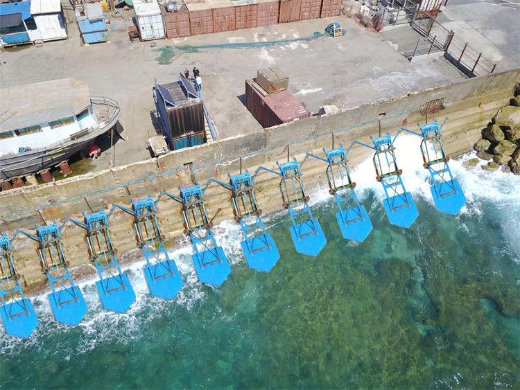 Jaffa Port floaters illustration (Courtesy of Eco Wave Power)