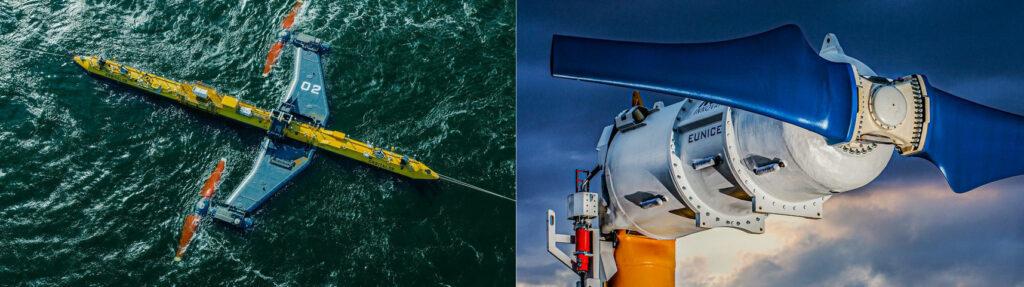 L to R: Orbital Marine's O2 turbine; Nova Innovation's M100-D turbine (Courtesy of Orbital Marine Power; Nova Innovation)