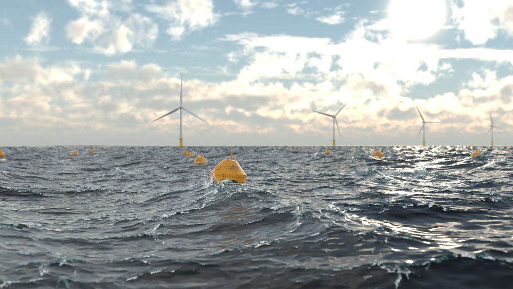 Illustration/CorPower wave energy farm co-located with wind farm (Courtesy of CorPower Ocean)