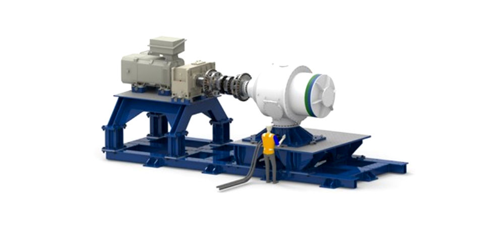 Visualisation of a tidal turbine on the 1MW powertrain test rig (Courtesy of ELEMENT)