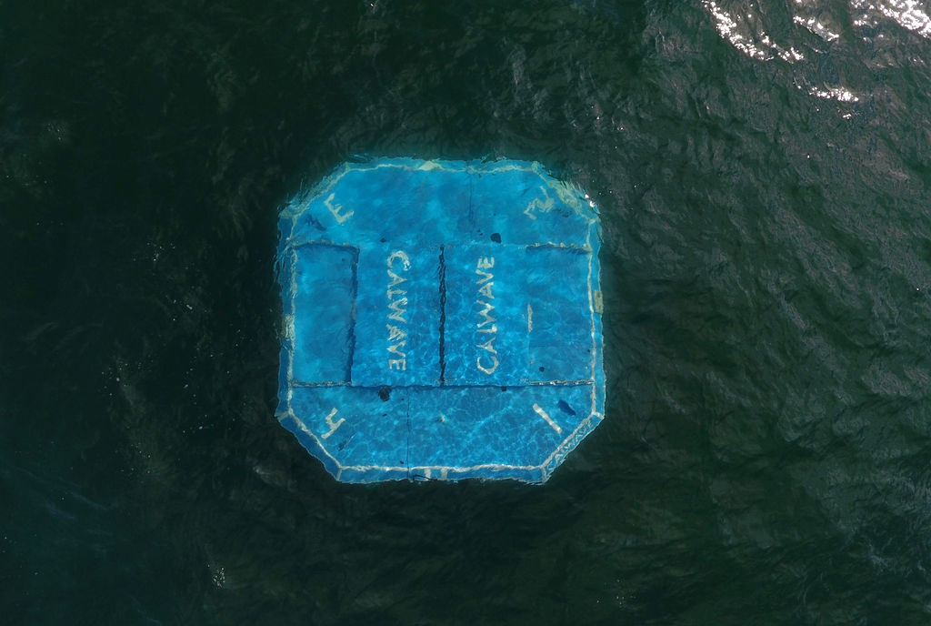 Photo showing the submerged CalWave x1 wave energy device (Courtesy of CalWave Power Technologies)