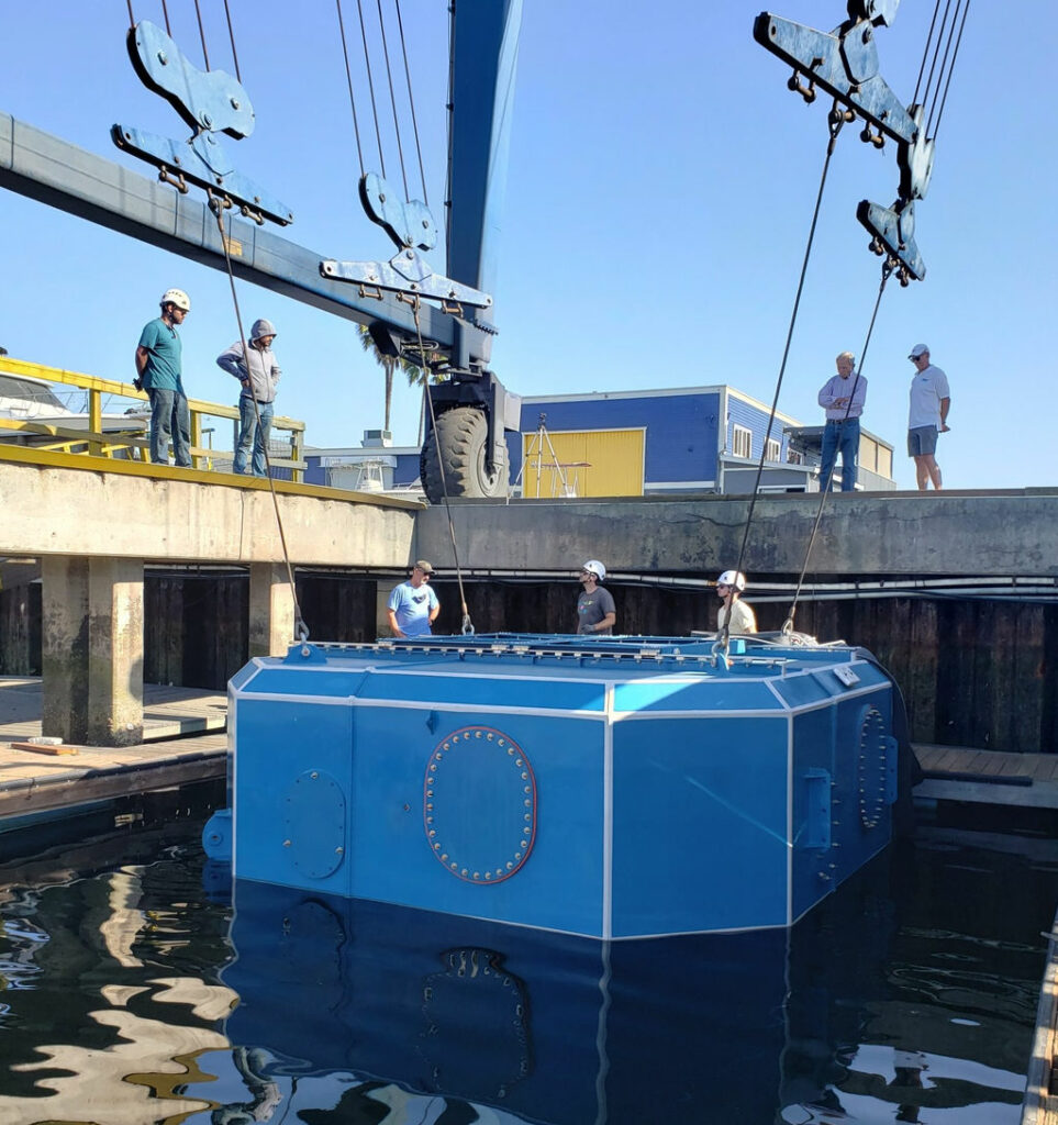 The commissioning of the CalWave x1 wave energy device (Courtesy of CalWave Power Technologies)