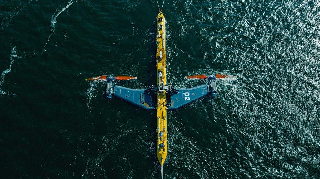 Photo showing Orbital Marine's O2 tidal turbine (Courtesy of Orbital Marine Power)