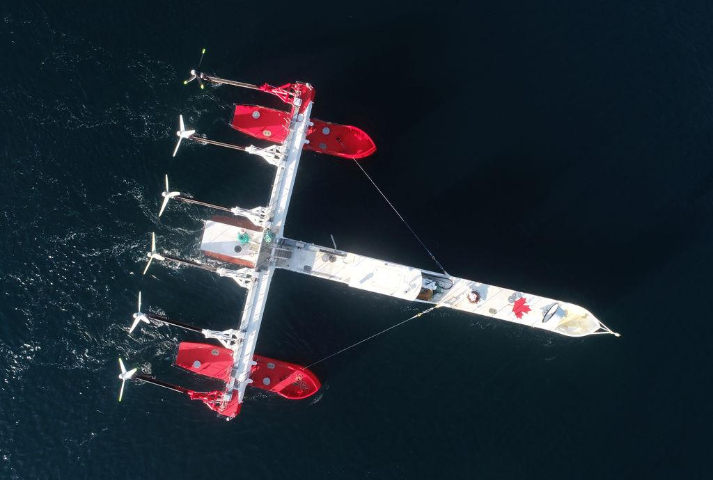 Photo showing Sustainable Marine Energy's PLAT-I floating tidal energy platform (Courtesy of Sustainable Marine Energy)