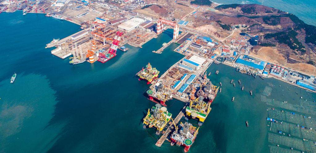 Photo showing Yantai CIMC Raffles' Shipyard (Courtesy of Eco Wave Power)