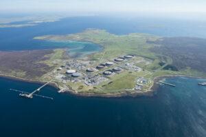 An aerial photo of the Flotta Terminal;